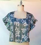 Satin Flutter Sleeve Top in Silver Black/Floral