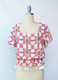 Pineapple Flutter Sleeve Top
