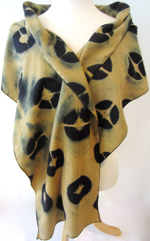 Raw Silk Itajime Shibori Ochre and Black Scarf
