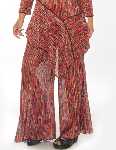 Textured Red Palazzo Pants