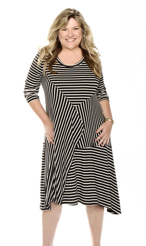 Moonlight Black & White Stripe Dress