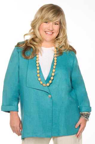 Turquoise Linen Jacket by Christopher Calvin