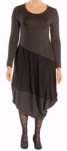 Matti Mamane Green & Black Asymmetrical Knit Dress