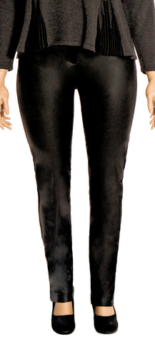 Black Leather Look Stretch Pants