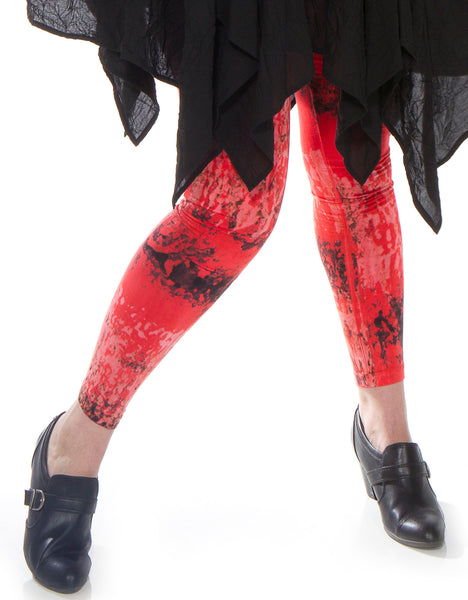Red Hand Dyed City Leggings