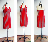 Red Striped Hollywood Knit Halter Dress
