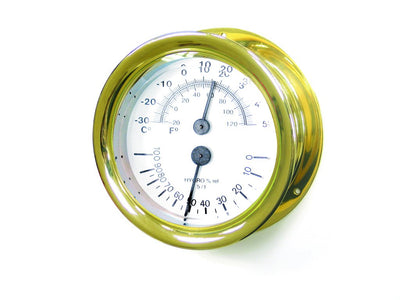 "Capstan Thermometer Hygrometer 4"" - brass"