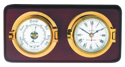 Channel Range Clock and Barometer Set - Brass