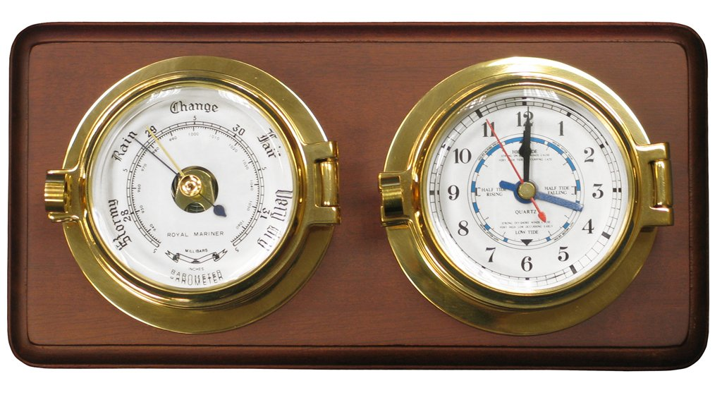 Channel Range Tide Clock and Barometer Set - Brass