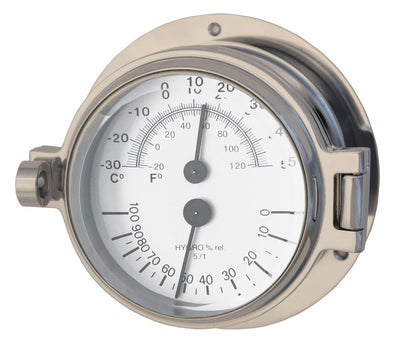 Channel Range Thermometer Hygrometer - Polished Chrome Colour