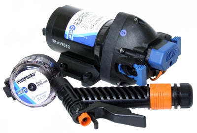Par-max 4' Pressure-controlled self-priming washdown diaphragm pump 24 volt d.c., supplied with inlet strainer, port fittings & trigger nozzle - Jabsco 32605-0394