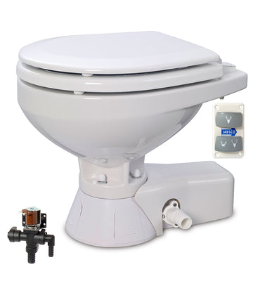QUIET FLUSH ELECTRIC TOILET Fresh water flush models, Compact bowl size, 12 volt dc -  Jabsco - 37045-3092