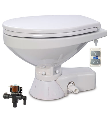 QUIET FLUSH ELECTRIC TOILET Fresh water flush models, Regular bowl size, 12 volt dc - with Soft Close seat and cover Jabsco - 37045-4192