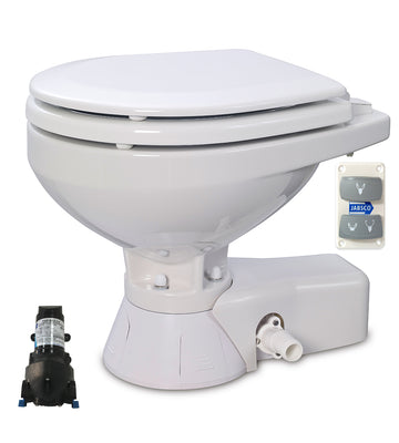 QUIET FLUSH ELECTRIC TOILET Sea or river water flush models, Compact bowl size, 12 volt dc -  Jabsco - 37245-3092