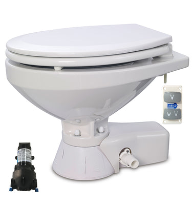 QUIET FLUSH ELECTRIC TOILET Sea or river water flush models, Regular bowl size, 12 volt dc -  Jabsco - 37245-4092