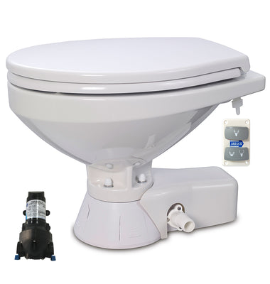 QUIET FLUSH ELECTRIC TOILET Sea or river water flush models, Regular bowl size, 24 volt dc - with Soft Close seat and cover Jabsco - 37245-4194