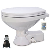 QUIET FLUSH ELECTRIC TOILET Sea or river water flush models, Regular bowl size, 12 volt dc - with Soft Close seat and cover Jabsco - 37245-4192