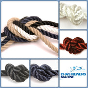 3 Strand Polyester Rope in White, Black, Navy & Burgandy
