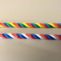 3 Strand Polyester Rope in Red Yellow & Green or Red White & Blue
