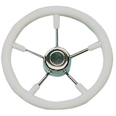 Drive Force Stainless Steel Steering Wheel (White Padded Rim / 350mm)  611262