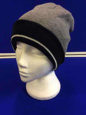 Reversible Beanie Hat Double Lined - 4 Designs in One - Black/Grey/Light Grey Stripe
