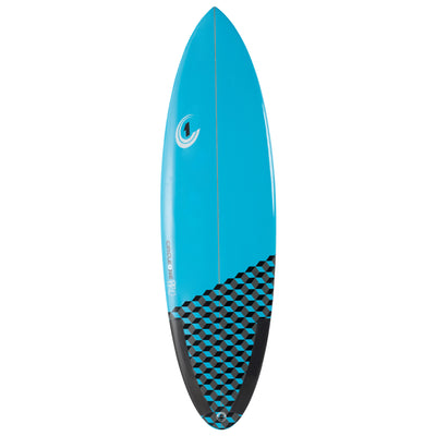 6ft 6inch Pro Carbon Surfboard – Round Tail Shortboard – Gloss Finish  pastel-blue