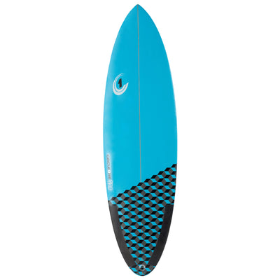 5ft 10inch Pro Carbon Surfboard – Round Tail Shortboard – Gloss Finish  pastel-blue