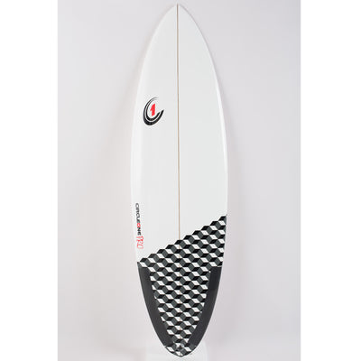5ft 10inch Pro Carbon Surfboard – Round Tail Shortboard – Gloss Finish  brilliant-white