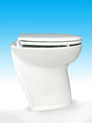 DELUXE  FLUSH ELECTRIC TOILET Fresh water flush models, 12 volt dc - Angled back for easy mounting against a sloping surface. Jabsco - 58020-1012
