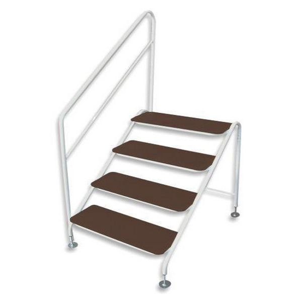 Free-Standing 4 Tread Step White - 4 TREAD DELUXE F/S