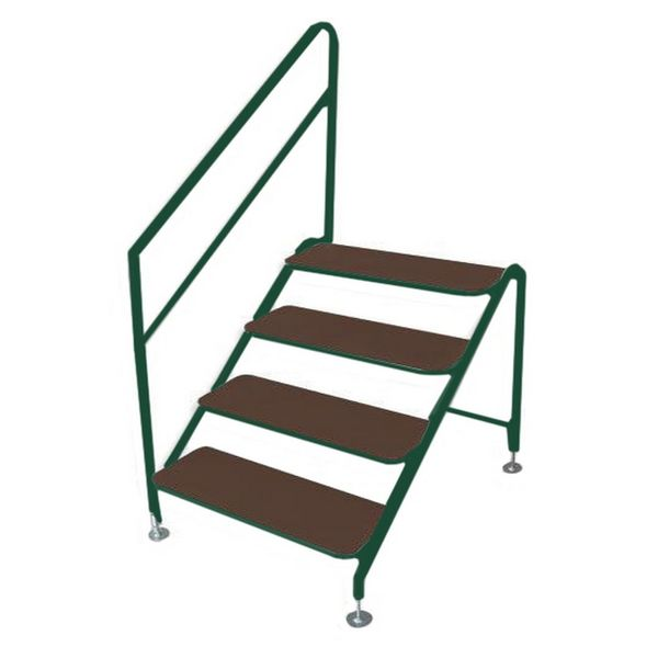 Free-Standing 4 Tread Step Green - 4 TREAD DELUXE G F/S