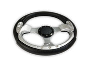 """Deluxe Sport"" Sports Boat Steering Wheel BLACK and SILVER"