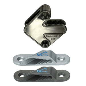 Clamcleat 3mm Racing Sail Line Port Silver Cleat/Backplate/Rivets  CL241+PR  CL241PR