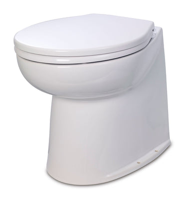 DELUXE  FLUSH ELECTRIC TOILET Fresh water flush models, 12 volt dc - Vertical back for snug fitting against a vertical bulkhead. Jabsco - 58040-2012