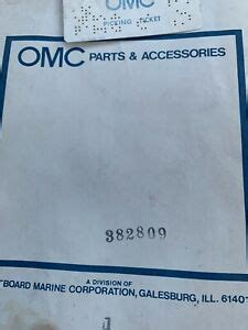 Evinrude Johnson OMC Engine Part Gasket Set  0382809 382809