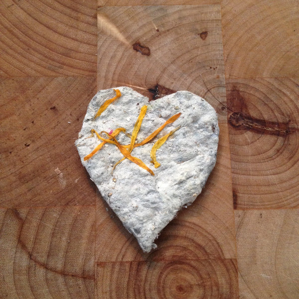 recycled paper seed heart with Calendula petals