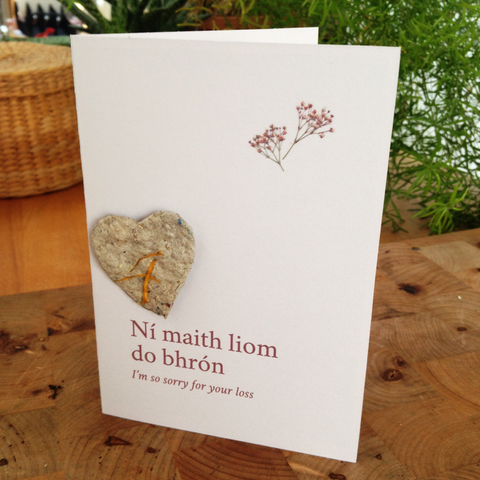 Ní maith liom do bhrón – So sorry for your loss – seedpaper card