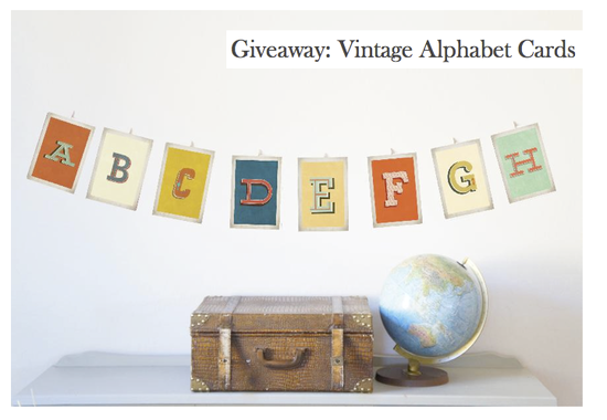 Wednesday Giveaway {Old School Alphabet Cards}