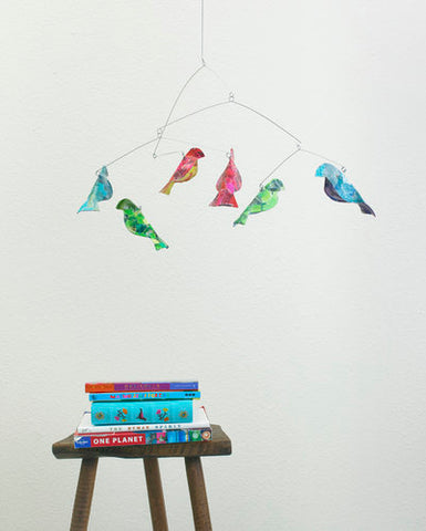 Recycled paper bird mobile – Children Inspire Design