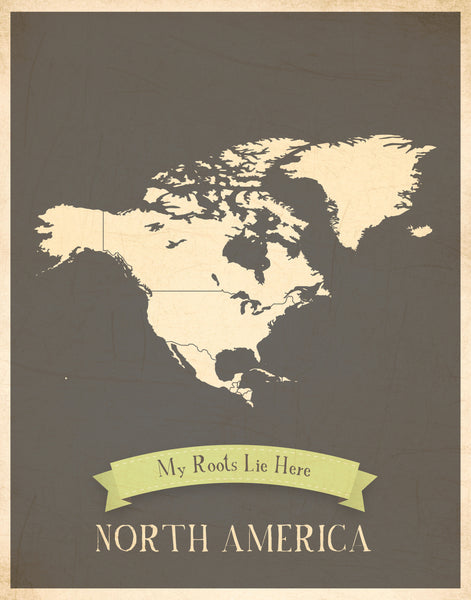 My Roots Personalized Continents Maps, Canvas, Educational, Playroom Decor