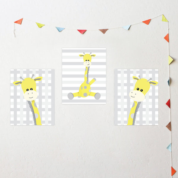 Print or Canvas, Baby Giraffe, Set of 3 - Personalize it!