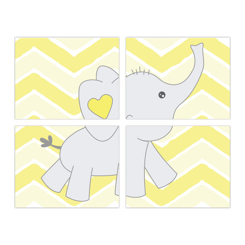 Baby Elephant Chevron Background - Set of 4 - Personalize it!