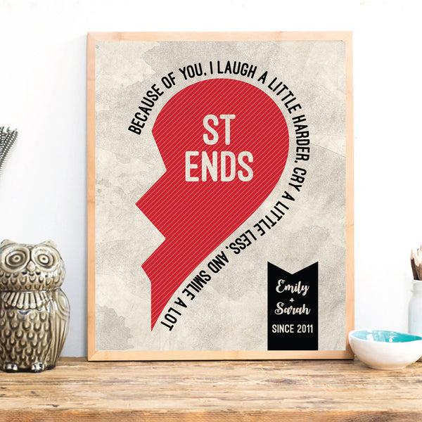 Best Friends Half Hearts, Long distance friendship gift, Valentines day gift