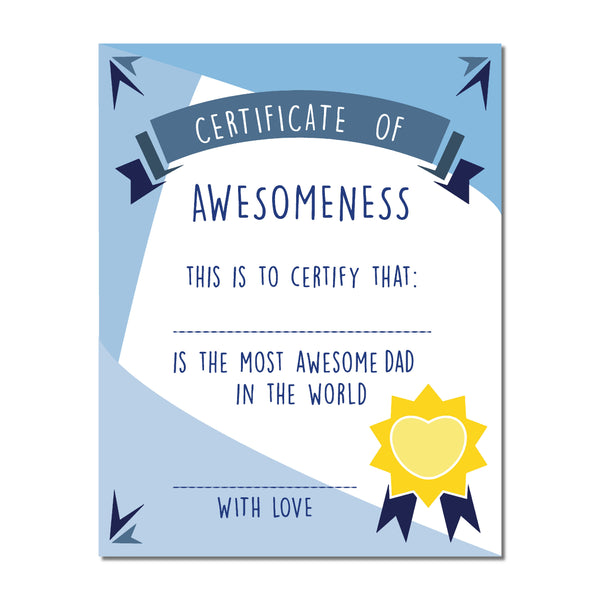 Canvas or Print, Certificate of Awesomeness for Dad Print,  Father's Day Gift