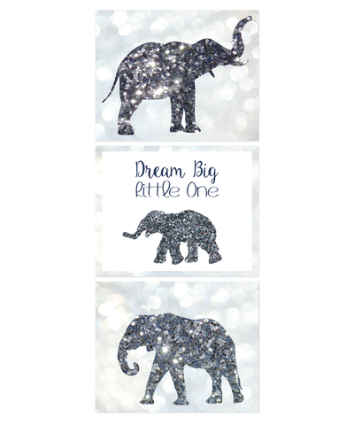Dream Big Little One, Glitter Elephant, Glamour, Print - Baby Girl Nursery, Wall Art Decor