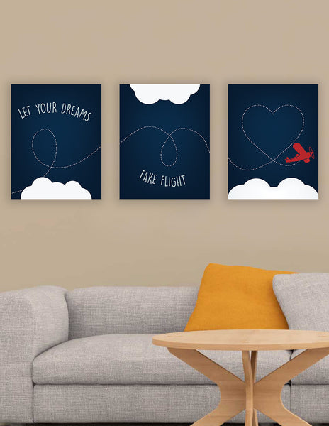 Let Your Dreams Take Flight Collection, Nursery decor, Baby's room, Playroom wall prints