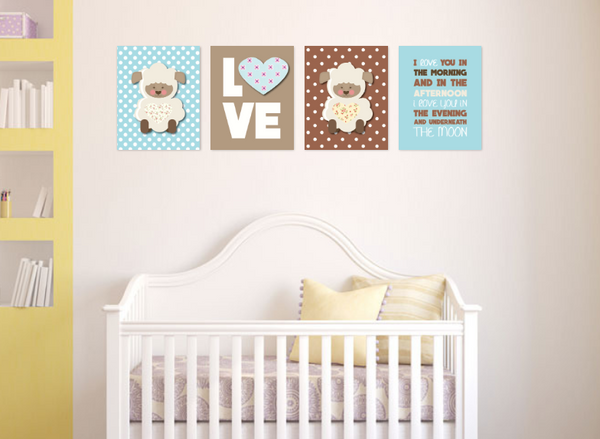 Canvas or Print, Love You In The Morning, Set Of 4