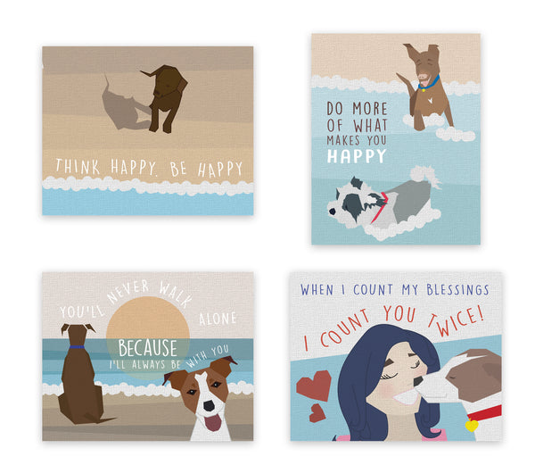 Print or Canvas, My Best Friend Print - Set of Four