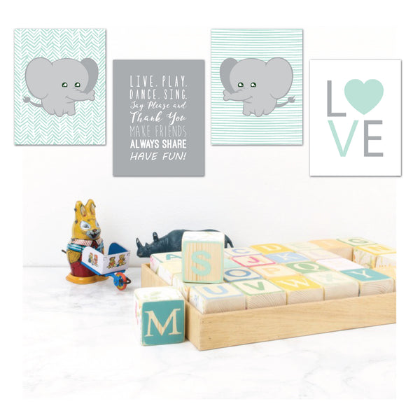 Print or Canvas, Cute Baby Elephant Set of 4, Personalize it!