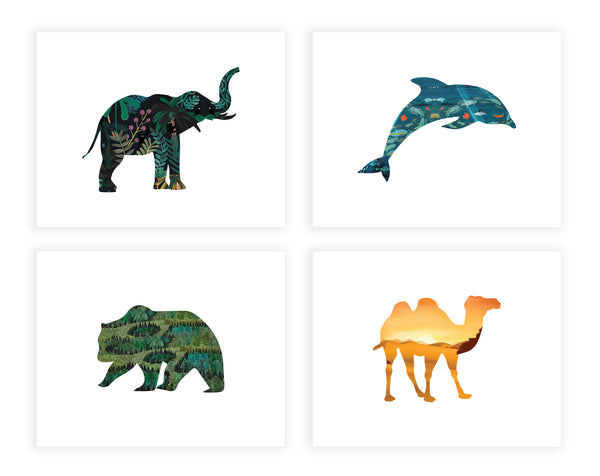 Print or Canvas, Habitat Animals Collection Set of Four